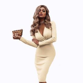 Long Sleeve Solid Color Dress  Nihaostyles Wholesale Clothing Vendor NSXPF73096