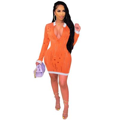 Women's Hole Contrast Color Dress Nihaostyles Clothing Wholesale NSCQ73108