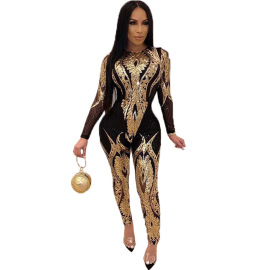 Sequined Long-sleeved See-through Jumpsuit Nihaostyles Wholesale Clothing Vendor NSCYF73118