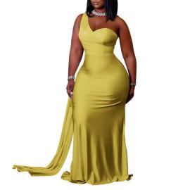 Plus Size Solid Color Evening Dress Nihaostyles Wholesale Clothing Vendor NSCYF73122