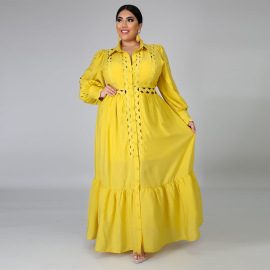 Plus Size Loose Solid Color Dress Nihaostyles Wholesale Clothing Vendor NSCYF73127