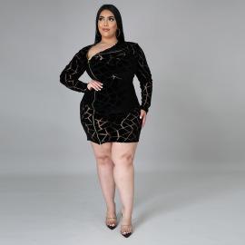 Plus Size Zipper Long Sleeve Dress Nihaostyles Wholesale Clothing Vendor NSCYF73130