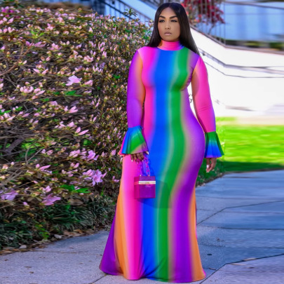 Women's Trumpet Sleeve Long Dress Nihaostyles Clothing Wholesale NSCYF73153