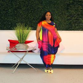 Women's Digital Printing Round Neck Short Sleeve Dress Nihaostyles Clothing Wholesale NSCYF73154