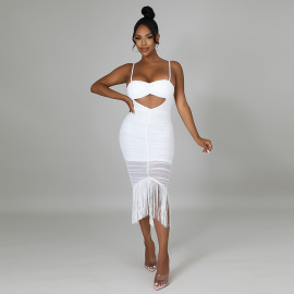 Women's Sling Sleeveless Navel Fringe Zipper Dress Nihaostyles Clothing Wholesale NSCYF73162