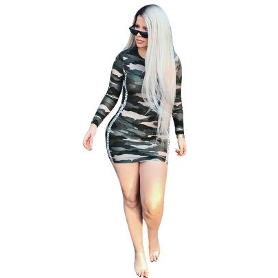 Sexy Camouflage Wrap Arm Dress Nihaostyles Wholesale Clothing Vendor NSYDF73170