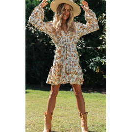 Women's V-neck Ruffled Hem Lace-up Long Sleeve Dress Nihaostyles Clothing Wholesale NSJIM73182