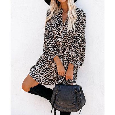 New Leopard Print Lantern Sleeve Ruffle Long Sleeve Dress Nihaostyles Wholesale Clothing Vendor NSJIM74965
