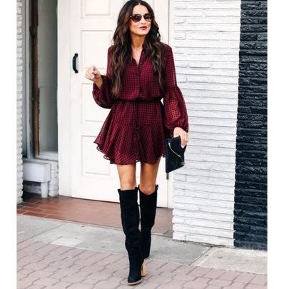 Women's Plaid Print Lantern Sleeves Ruffled Hem Long-sleeved Dress Nihaostyles Clothing Wholesale NSJIM73180