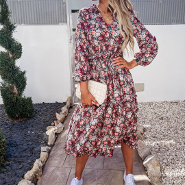 New Floral V-neck Long-sleeved Stitching Dress Nihaostyles Wholesale Clothing Vendor NSYIS74960