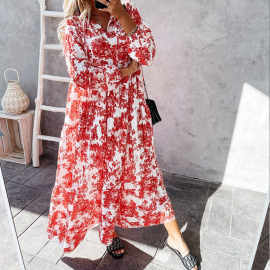 Printed Stand-up Collar Loose Ruffle Dress Nihaostyles Wholesale Clothing Vendor NSYIS74958