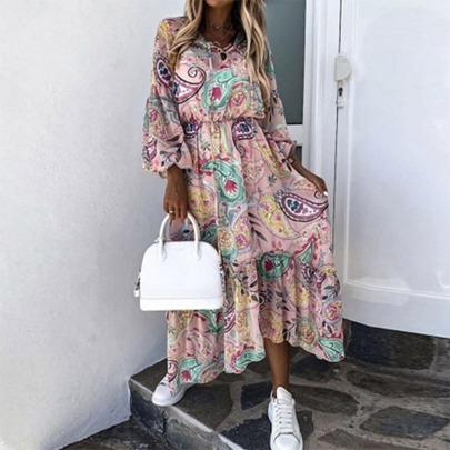 Printed Round Neck Long-sleeved Stitching Dress Nihaostyles Wholesale Clothing Vendor NSYIS74957