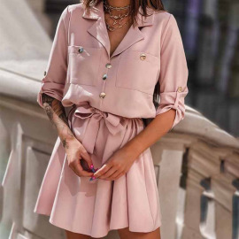Solid Color Suit Collar Button Pleated Ruffle Dress Nihaostyles Wholesale Clothing Vendor NSYIS74955
