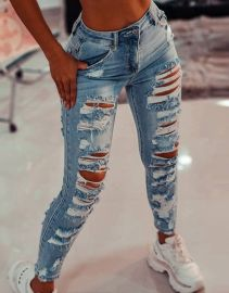 Women's Hollow Jeans Nihaostyles Clothing Wholesale NSOUY73802