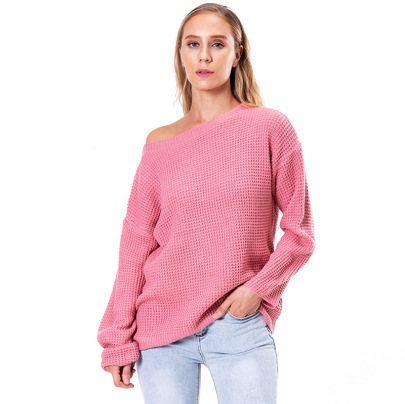 Women's Solid Color Loose Oblique Collar Long Sleeve Knitted Sweater Nihaostyles Clothing Wholesale NSSX73196