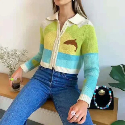 Women's Dolphin Print Loose Lapel Long-sleeved Knitted Cardigan Nihaostyles Clothing Wholesale NSSX73199