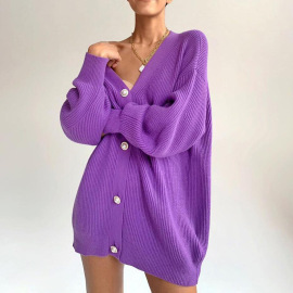 Women's Loose Solid Color Long-sleeved Cardigan Nihaostyles Clothing Wholesale NSSX73204