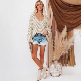 Women's Wave Striped Loose Knitted Pullover Sweater Nihaostyles Clothing Wholesale NSSX73205
