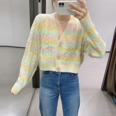 Women's Rainbow Stripes Gradient Color Twist Knit Cardigan Nihaostyles Clothing Wholesale NSSX73206