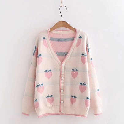Women's Peach Button Long-sleeved Loose Cardigan Nihaostyles Clothing Wholesale NSSX73215