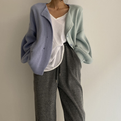 Women's Loose Contrast Color Stitching Single-breasted Long-sleeved Cardigan Nihaostyles Clothing Wholesale NSSX73218