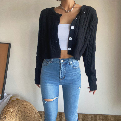 Women's Twist Long-sleeved Single-breasted Knitted Cardigan Nihaostyles Clothing Wholesale NSSX73228