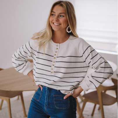 Women's Loose Striped Round Neck Single-breasted Long-sleeved Pullover Sweater Nihaostyles Clothing Wholesale NSSX73230
