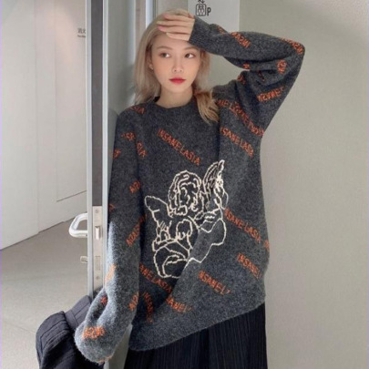 Women's Angel Letter Printing Loose Round Neck Long-sleeved Knitted Pullover Nihaostyles Clothing Wholesale NSSX73231