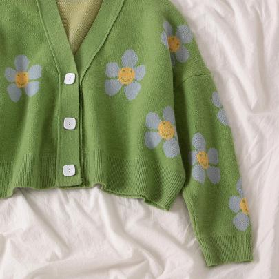 Women's Leisure Flower Knit Loose V-neck Cardigan Nihaostyles Clothing Wholesale NSSX73236