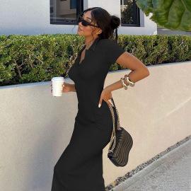 Women's Lapel Short-sleeved Backless Slim Dress Nihaostyles Clothing Wholesale NSSX73239
