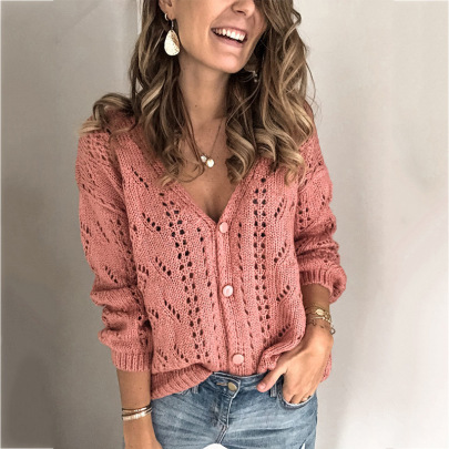 Women's Solid Color Hollow V-neck Knitted Cardigan Nihaostyles Clothing Wholesale NSSX73243