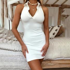 Halter Tight-fitting Pure Color Collar Sexy Dress Nihaostyles Wholesale Clothing Vendor NSXPF73275