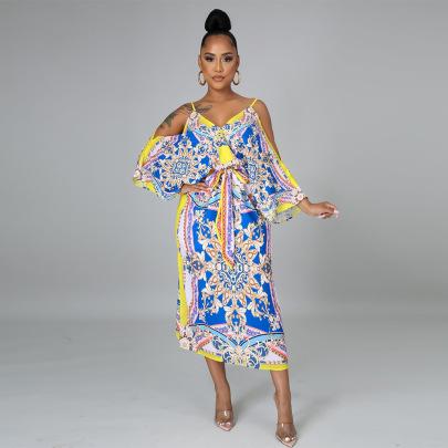 Digital Printing Sling Dress Nihaostyles Wholesale Clothing Vendor NSCYF73287