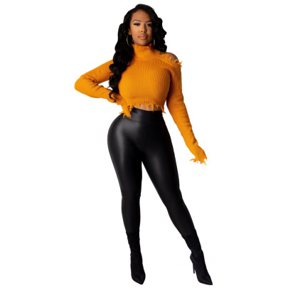 Light Imitation PU Polyester Leggings Nihaostyles Wholesale Clothing Vendor NSCYF73292