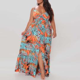 Plus Size Fashion Floral Sexy Sling Dress Nihaostyles Wholesale Clothing Vendor NSCYF73298