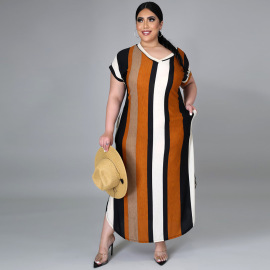 Casual V-neck Large Size Short-sleeved Dress Nihaostyles Wholesale Clothing Vendor NSCYF73301
