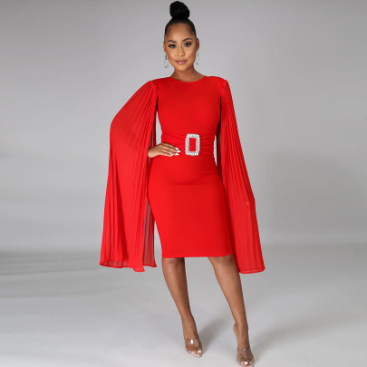 Pure Color Cloak Long-sleeved Round Neck A-line Dress Nihaostyles Wholesale Clothing Vendor NSCYF73304