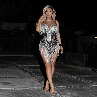 Sexy Irregular V-neck Sling Rhinestone Tassel Dress Nihaostyles Wholesale Clothing Vendor NSCYF73310