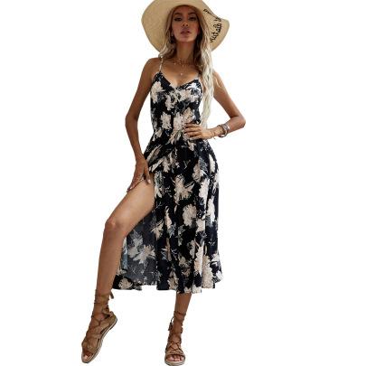 Women's Printed Sling Split Dress Nihaostyles Clothing Wholesale NSJM73329