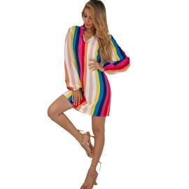 Women's Long-sleeved Striped Dress Nihaostyles Clothing Wholesale NSJM73338