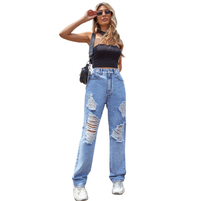 Women's Straight High Waist Ripped Loose Jeans Nihaostyles Clothing Wholesale NSJM73340