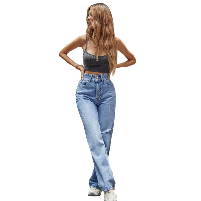 Women's High-waist Straight Slim Jeans Nihaostyles Clothing Wholesale NSJM73371