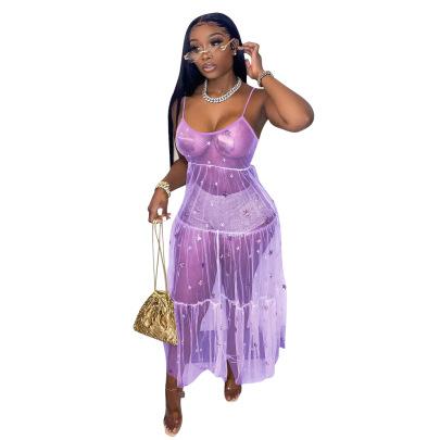Sequins Decor Mesh Sling Dress Nihaostyles Wholesale Clothing Vendor NSYDF73381