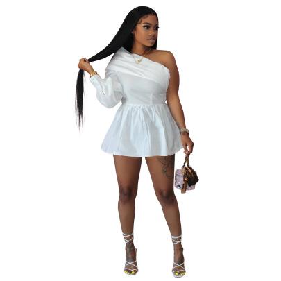 Solid Color One-shoulder Dress Nihaostyles Wholesale Clothing Vendor NSYDF73385