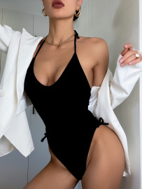 Women's Pure Color Tether Halter One-Piece Swimsuit Nihaostyles Clothing Wholesale NSDYS73402