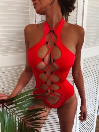 Women's Solid Color Cross Strap Hollow One-piece Swimsuit Nihaostyles Clothing Wholesale NSDYS73406