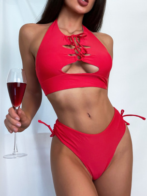 Women's Hollow Solid Color High Waist Split Swimsuit Nihaostyles Clothing Wholesale NSDYS73417