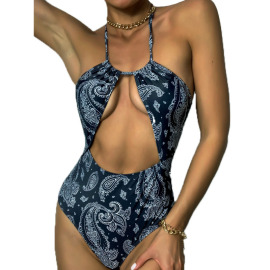 Women's Hanging Neck Hollow High-elastic Tight-fitting One-piece Swimsuit Nihaostyles Clothing Wholesale NSDYS73426