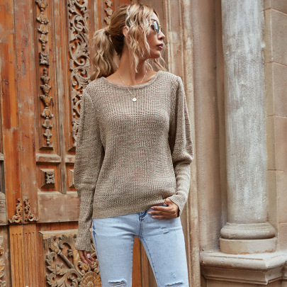 Fashion Round Neck Pullover Solid Color Knit Top Nihaostyles Wholesale Clothing Vendor NSDMB73444