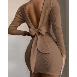 Bowknot Halter Long Sleeve Dress Nihaostyles Wholesale Clothing Vendor NSXPF73459